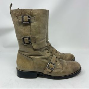 VINCE CAMUTO Tan Leather Zip Buckle Mid Calf Boot